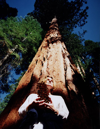 Anne with sequoia cone